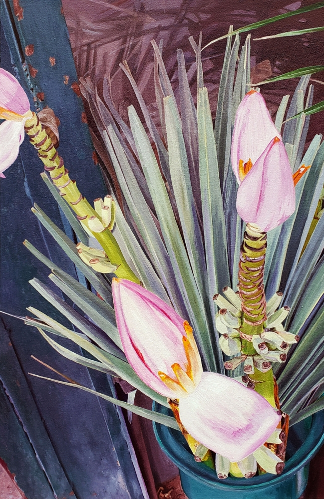 """Pink Banana Flower, 28.5"""" x 19"""", Oil on Canvas"""