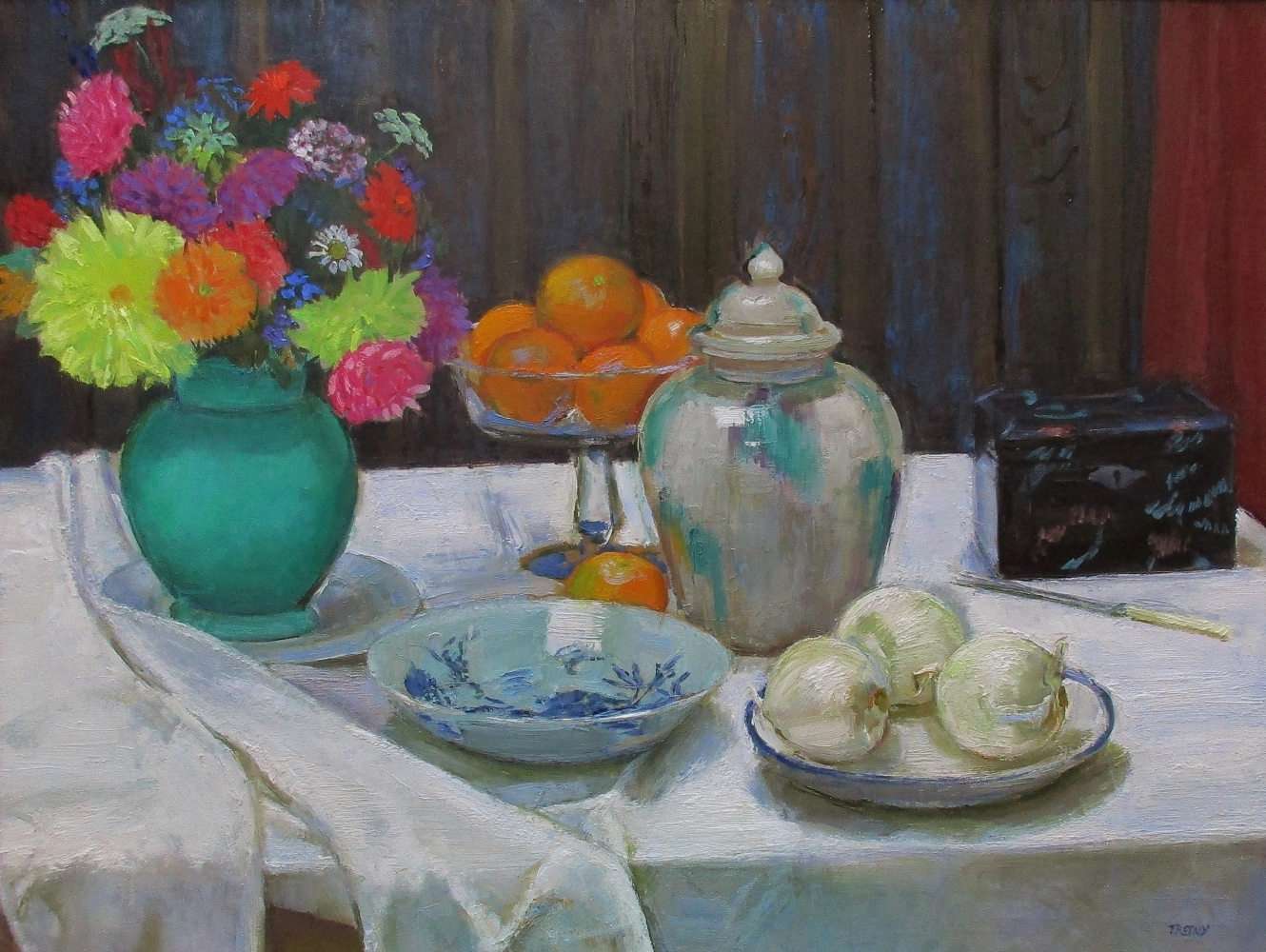 """White Onions And Ginger Jar  24"""" x 32""""  Oil On Panel"""