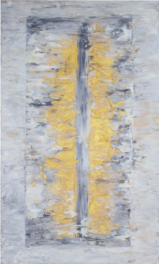 Jill Krutick, Ice Cube (Rectangle), 2013, Oil on canvas, 36 x 60 inches