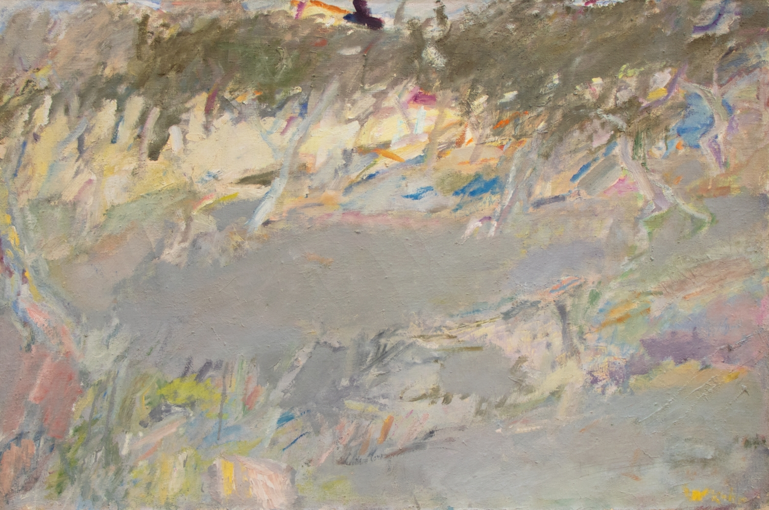 Wolf Kahn, Olive Branches, oil on linen, 26 x 39.5 inches, Wolf Kahn art For sale, Wolf Kahn Oil Paintings