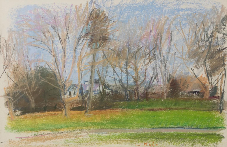 Wolf Kahn, House on Harkey Neck Road, 1989, Pastel on paper, 12 x 18 inches, Wolf Kahn art, wolf kahn pastels for sale