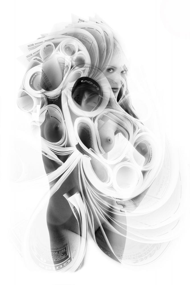 Alex Vignoli, Body of Books, 2015, Photo Montage on paper, 24 x 36 inches