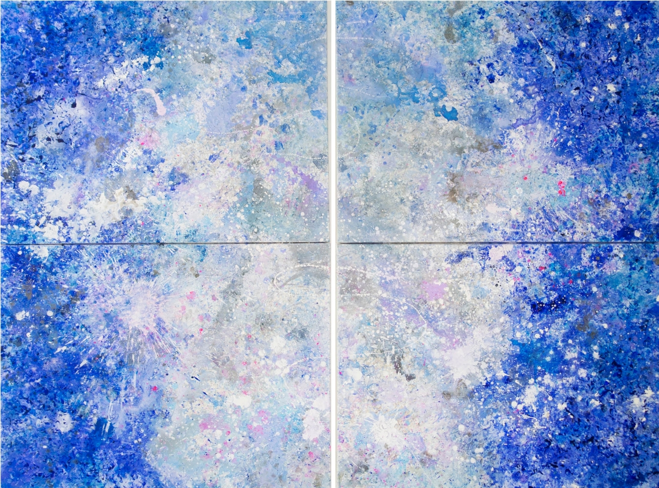 Jill Krutick, Dreamscape Diptych Surprise!, 2017, Acrylic on canvas, 72 x 96 inches