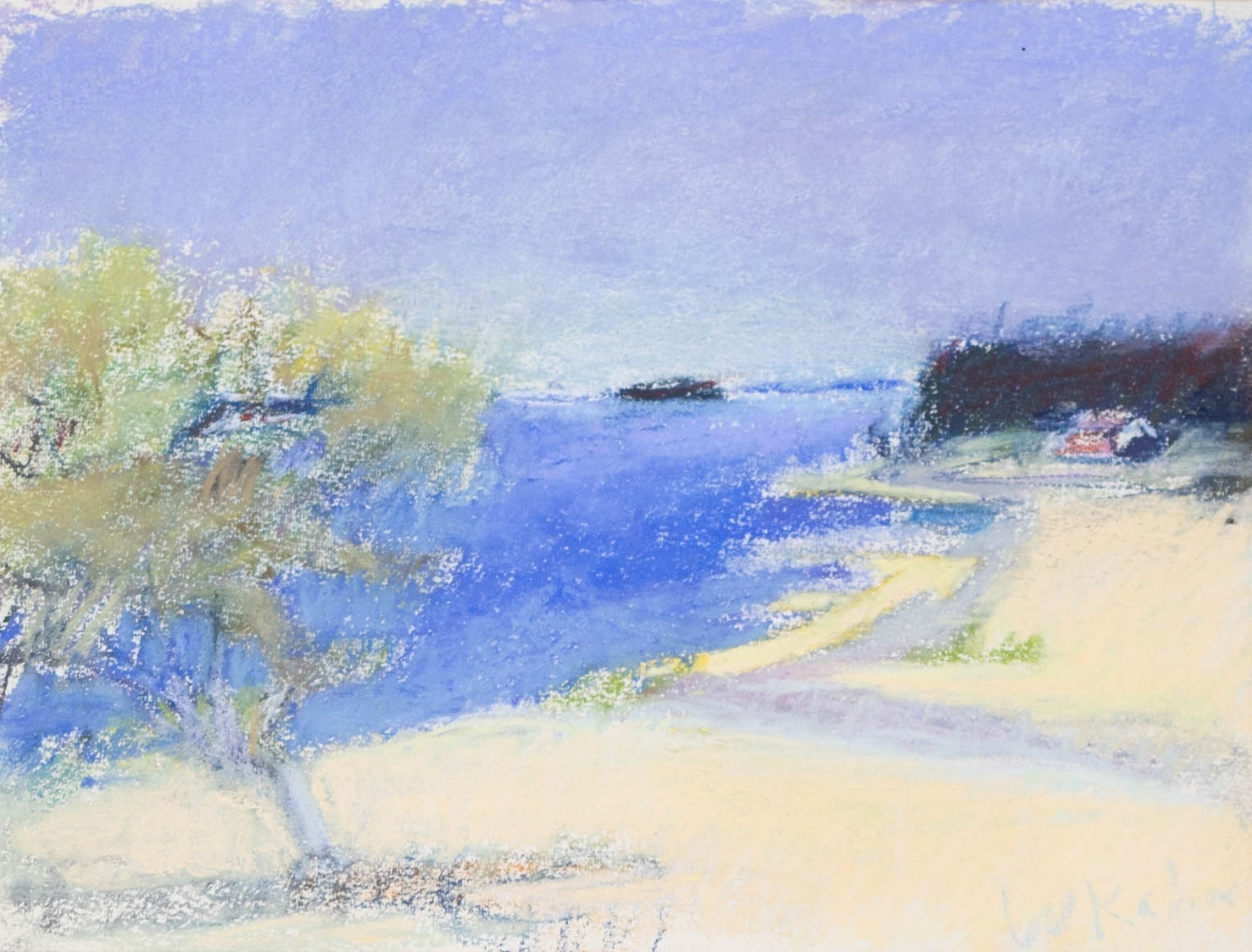 Wolf Kahn, Looking Southwest on Deer Isle, 1967, Pastel on paper, 9 x 12 inches, Wolf Kahn Pastels for sale, Wolf Kahn Landscape, Wolf Kahn Pastels