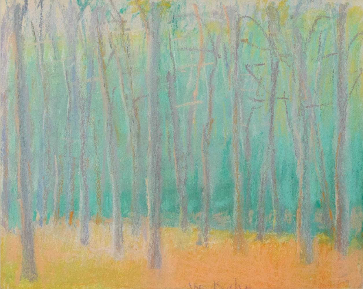 Wolf Kahn, Woods: Green & Orange, 1989, Pastel on paper, 8 x 10 inches