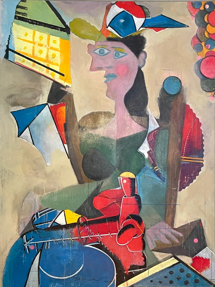 Bruce Helander, Picasso (Blue Period), 2016, Acrylic with Embellishments on Canvas with Printed Background, 72 x 54 inches, Bruce Helander art for sale