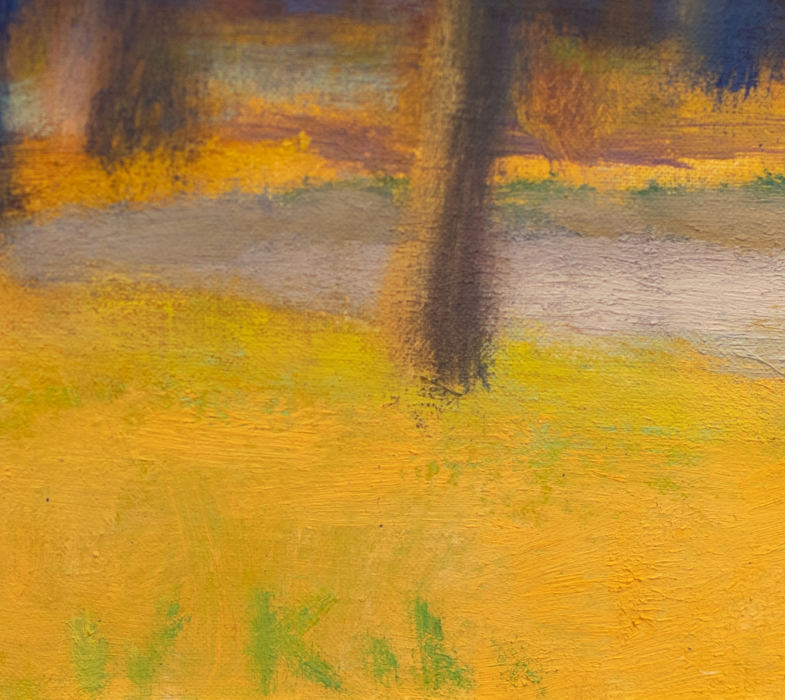 Wolf Kahn, A Study of Yellow and Purple, 1995, oil in linen, 16 x 28 inches