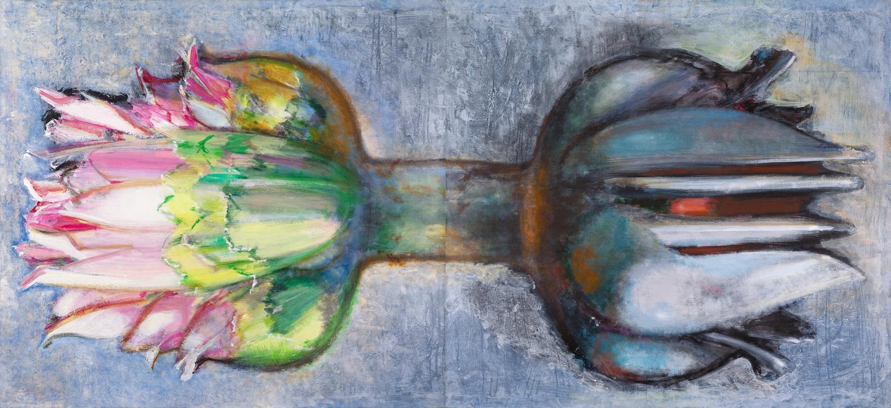Morton Kaish, Delicate Balance, 2018, Acrylic on Linen,88h x 96w inches