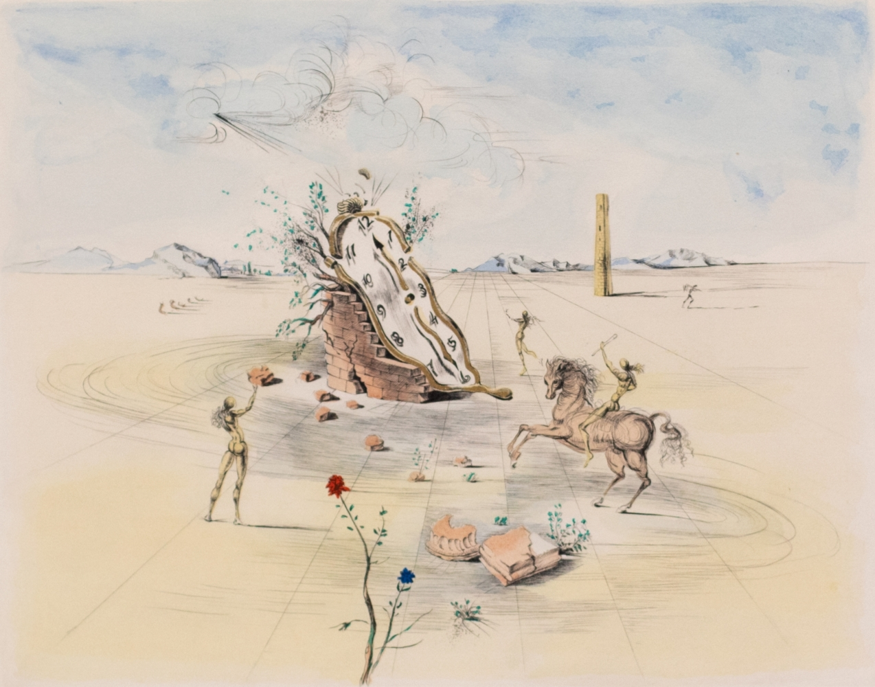 Salvador Dali, Cosmic Horseman, 1982, Color Lithograph on paper, 19.25 x 21.25 inches, Frame size-30.25 x 32.25 inches, Edition 168 of 300, Salvador Dali signed prints, Salvador Dali Prints for sale