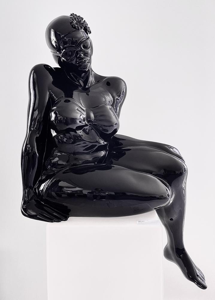 Didier Audrat, TALIMA-Black, Female sculpture, 2020, Mixed Polymer sculpture, 50h x 32w x 26d inches, Art Sculptures for sale