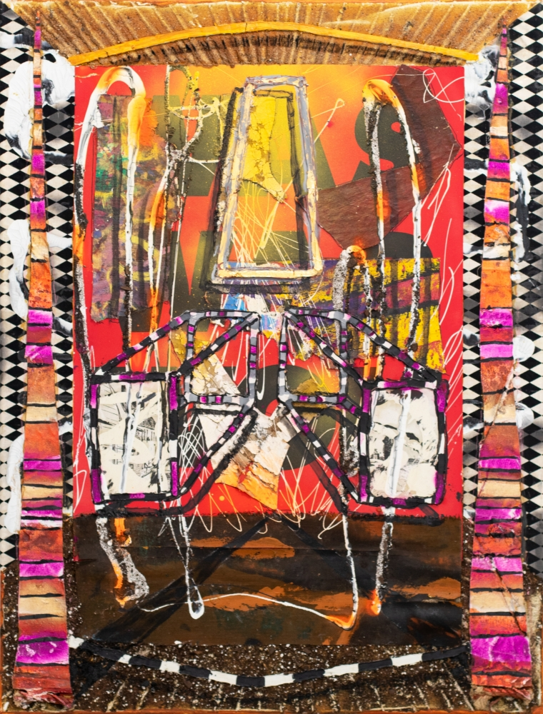 Reid Stowe, Red War was Won and Peace Spires, 2018, Mixed Media on canvas, 40 x 30 inches