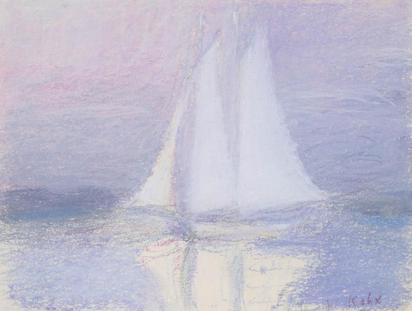 Wolf Kahn, Sailboat off of Martha's Vineyard, 1965, Pastel on paper, 9 x 12 inches, Wolf Kahn Pastels for sale, Wolf Kahn Pastels