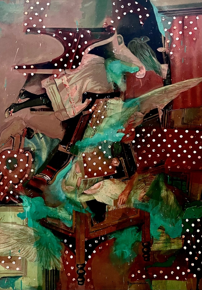 Bruce Helander, Polka Dot Bedlam, 2020, Acrylic and Tulle with Printed Background on canvas, 59 x 42 inches, bruce helander art for sale