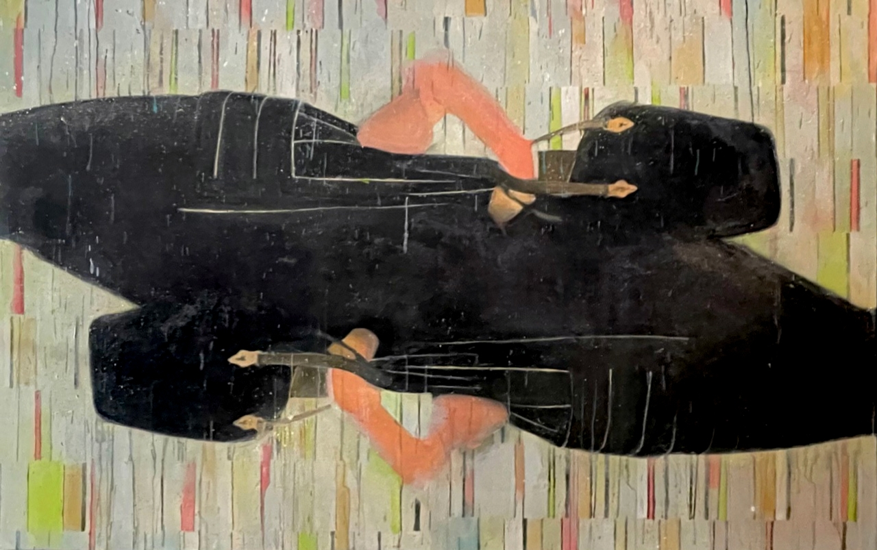 Bruce Helander, Double Bag Lady, 2019, Acrylic on Canvas with Printed Background, 54 x 85 inches, bruce helander art for sale