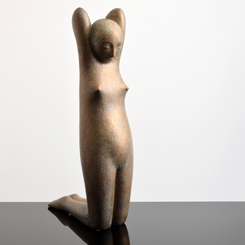 Hugo Robus, Bronze Sculpture of Woman, 32h x 17w x 9.5d inches, 1960s