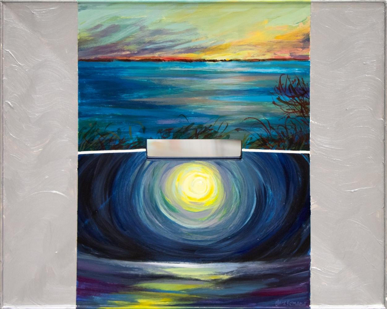 Clare Romano, Day Break/ Nocturne/ Gardiner's Island, 1999,  Oil on woodblock with mirror