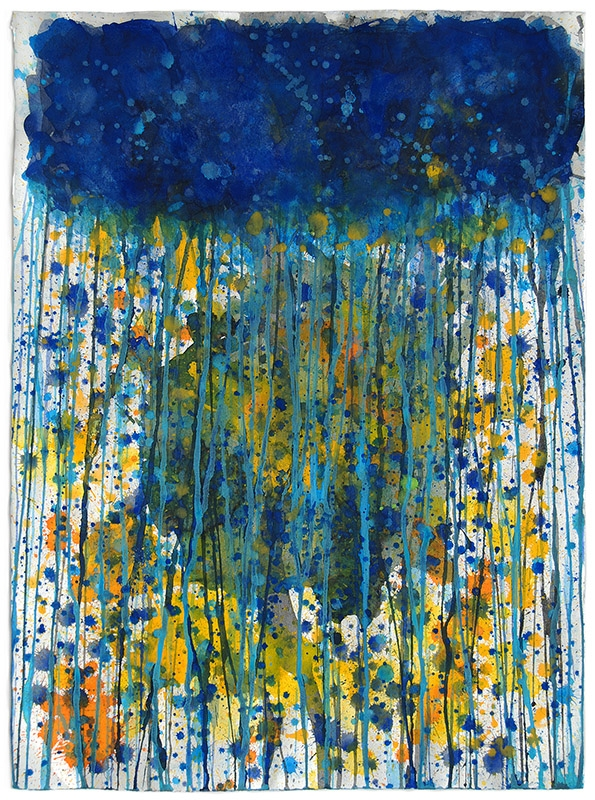 J.Steven Manolis-Jellyfish 2010.04, gouache and watercolor on paper, 31 x 22 inches, Abstract Expressionism paintings for sale at Manolis Projects Art Gallery, Miami, Fl