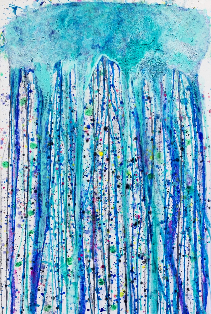 J. Steven Manolis, Jellyfish, 2014, 40 x 30 inches, Acrylic and gouache on canvas, Abstract Expressionism paintings for sale at Manolis Projects Art Gallery, Miami, Fl