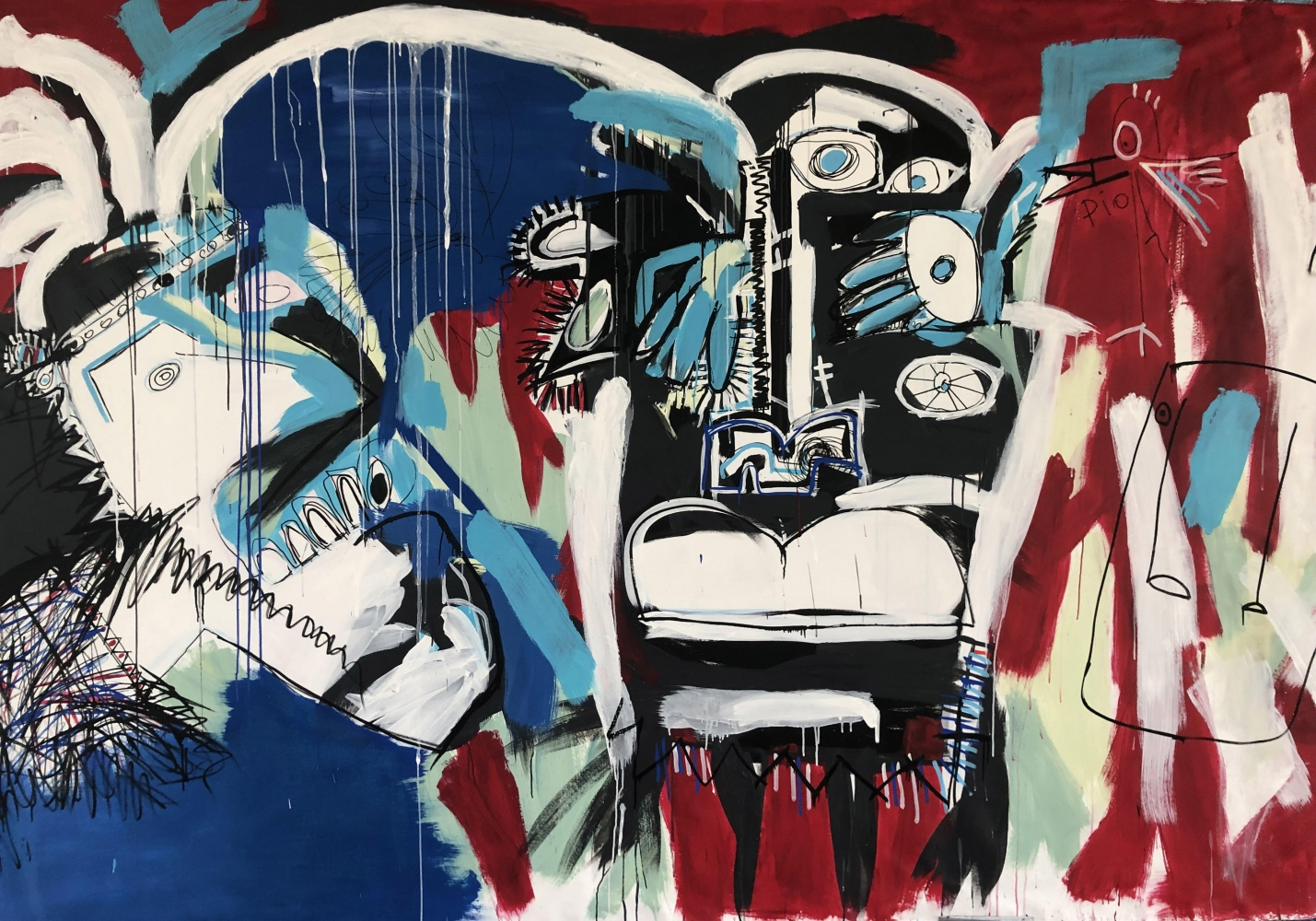 Fernanda Lavera, Final Cut, 2019, 79 x 126 inches, Acrylic, Marker and Oil on canvas, Graffiti and Street Art for Sale at Manolis Projects Art Gallery