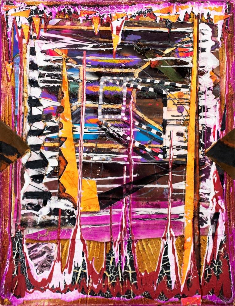 Reid Stowe, Magenta OP Sea Shore, 2018, MultiMedia on canvas, 40 x 30 inches