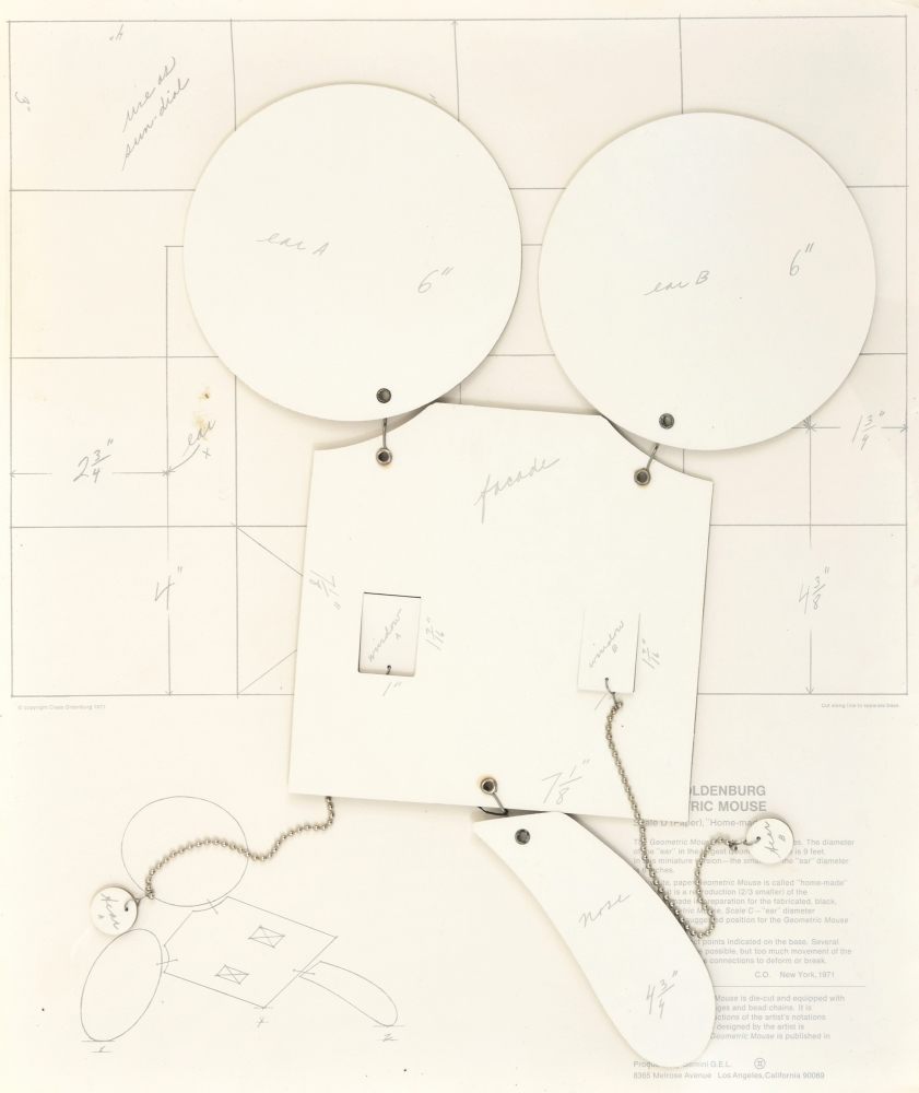 Geometric Mouse: Scale D, 1971, Photo offset die-cut cardboard, stainless-steel wire, bead chains, nickel-plated fasteners, 19.25 x 16.5 x 0.25 inches, ed of 155