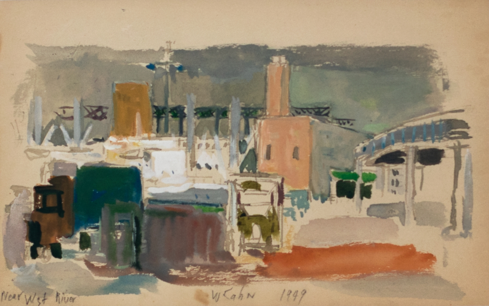 Wolf Kahn, Near the West River, 1949, Watercolor on paper, 5.5 x 8.5 inches, Wolf Kahn art for sale, Wolf Kahn watercolors