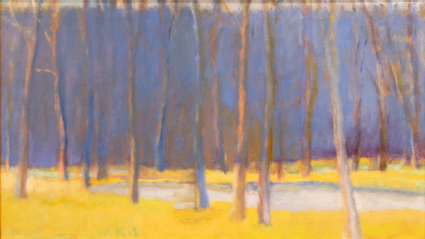 Wolf Kahn, A Study of Yellow and Purple, 1995, oil on linen, 16 x 28 inches, Wolf Kahn art for sale, Wolf Kahn Trees