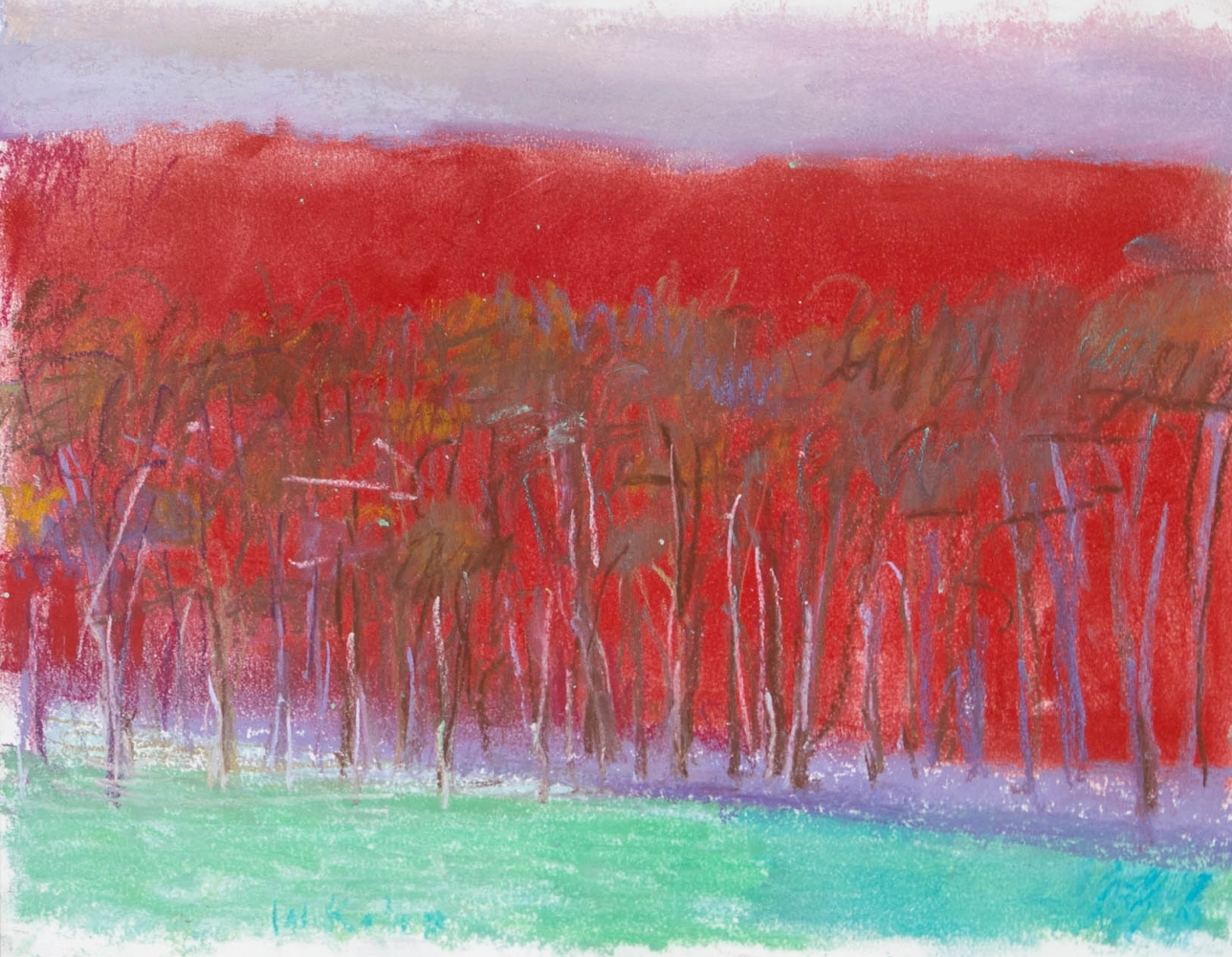 Wolf Kahn, A Special Red, 1994, Pastel on paper, 11 x 14 inches, Wolf Kahn Pastels for sale, Wolf Kahn Trees