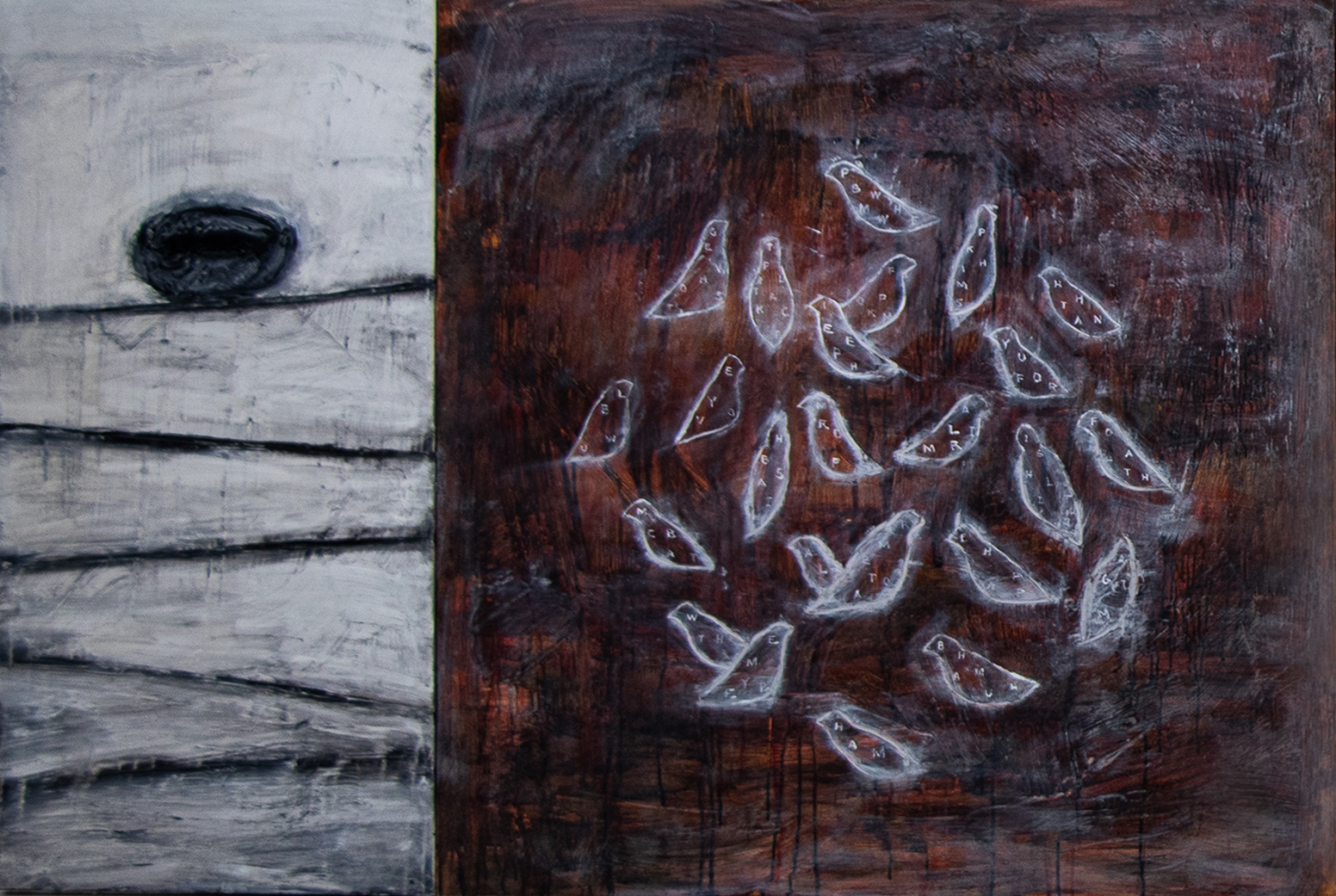 """Connie Lloveras, Nest on Wires and Bird Cluster, 2013, Mixed media on canvas, 48"""" x 72"""" inches"""