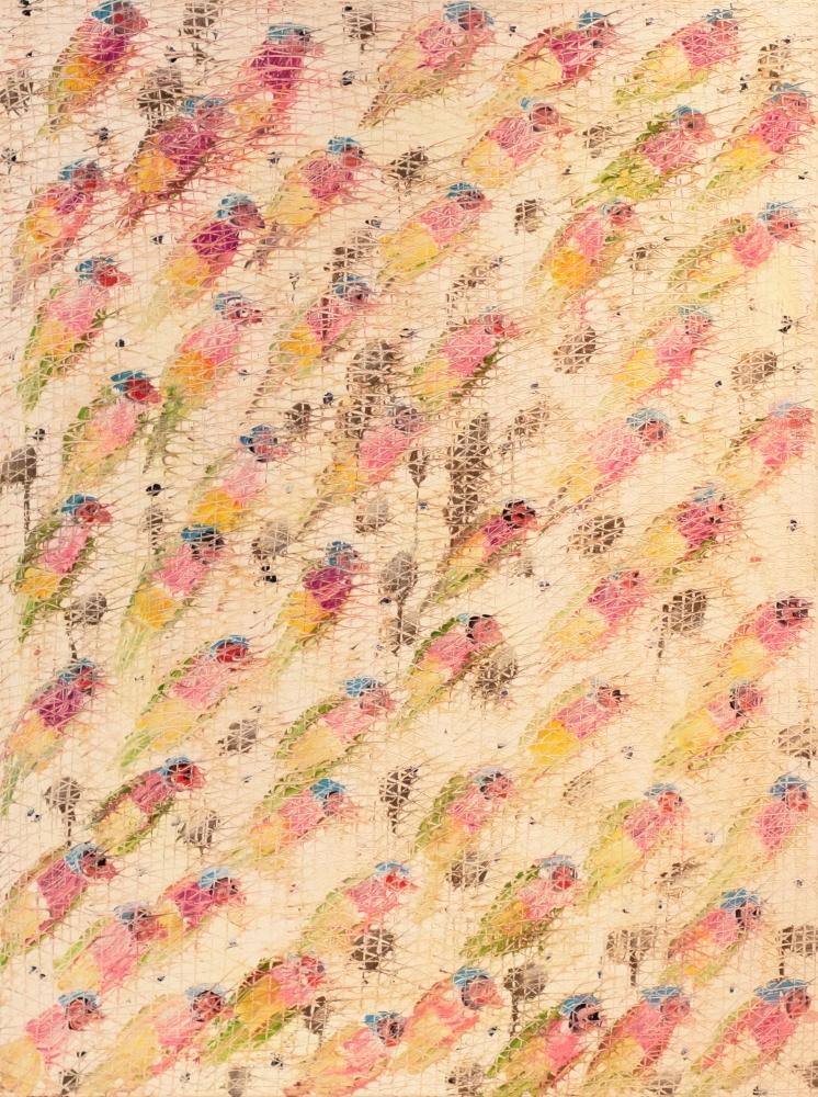 Hunt Slonem, Gouldians, 1989, Oil painting on canvas, 40 x 30 inches, Hunt Slonem art for sale, Hunt Slonem bird paintings