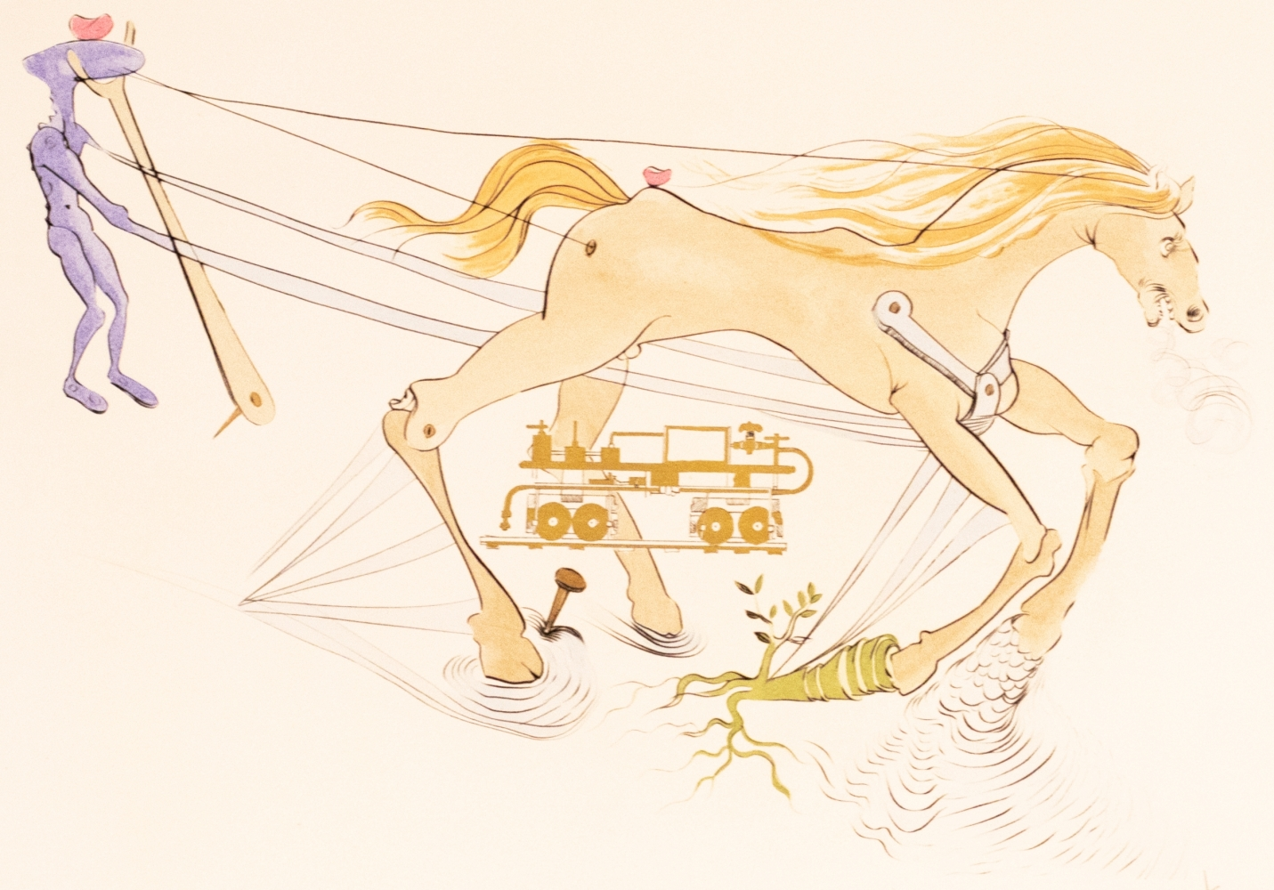 Salvador Dali, Le Frien Hudraulique, From Hommage a Leonardo da Vinci, 1975, Engraving with Pochoir on Arches paper, 22.25 × 29.875 inches, Salvador Dali signed prints, Salvador Dali Prints for sale
