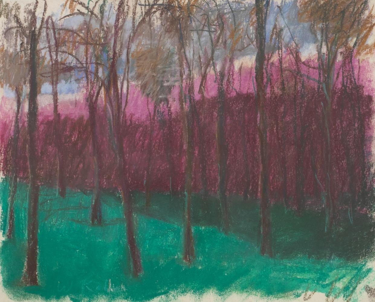 Wolf Kahn, Eucalyptus Grove in the Evening, Pastel on paper, 11 x 14 inches, Wolf Kahn Pastels, Wolf Kahn Pastels for sale, Wolf Kahn trees