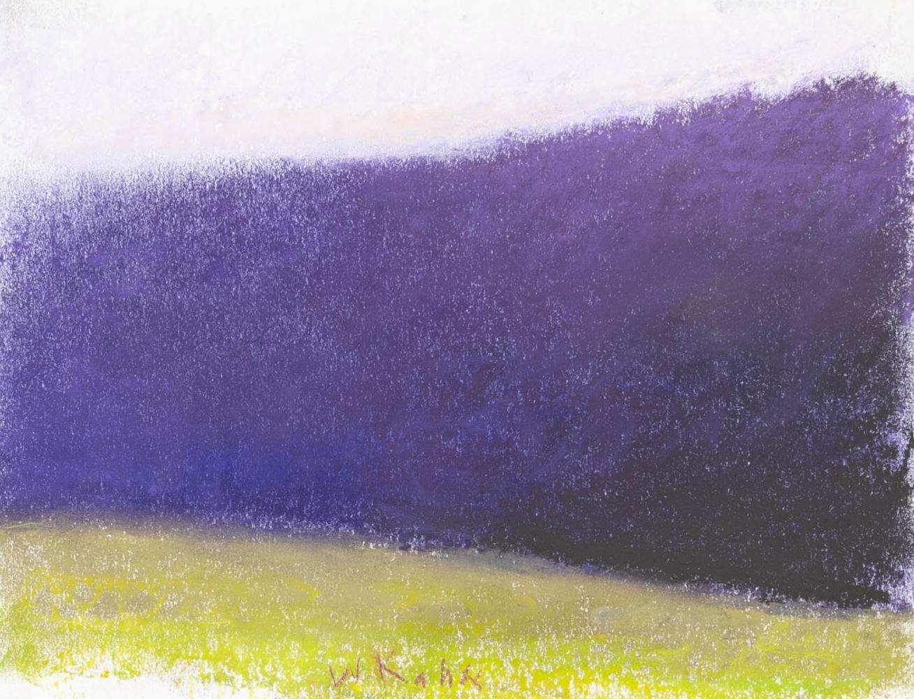 Wolf Kahn, Dark Purple Tree Wall, 1995, Pastel on paper, 9 x 12 inches, Wolf Kahn Pastels, Wolf Kahn Pastels For Sale