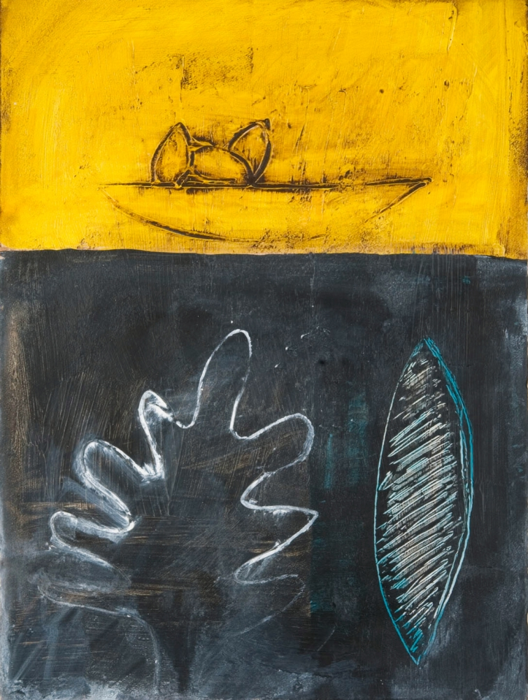 Connie Lloveras, Three Seeds in Boat, Leaf and Eclipse, 2014,  Mixed-Media on paper, 30 x 22 inches