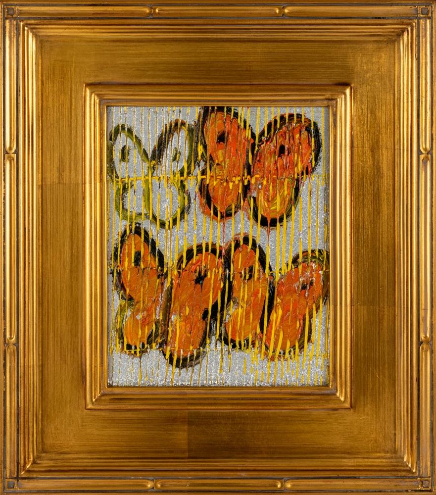 Hunt Slonem, Change (Orange Butterflies), 2021, Oil on wood, 10 x 8 inches, Hunt Slonem Butterflies