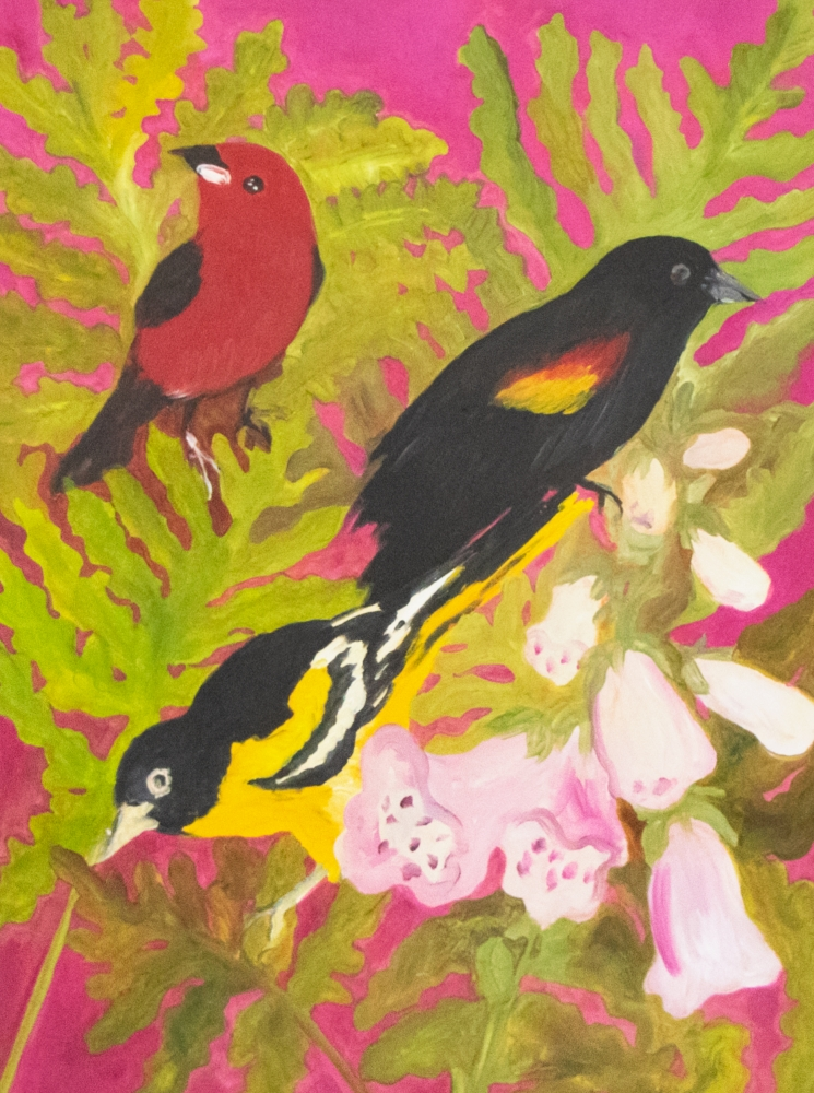 Hunt Slonem, Red Tanagers, 1982, Oil painting on paper, 23.5 x 17 inches, Hunt Slonem art for sale, Hunt Slonem bird paintings