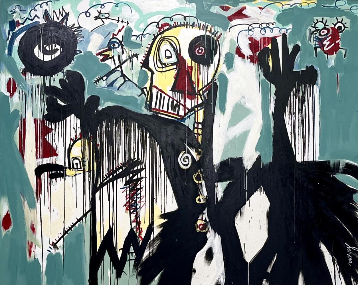 fernanda Lavera, Huyendo II, 2019, Acrylic painting on canvas, Graffiti and street art For sale at Manolis Projects Gallery, Miami. FL