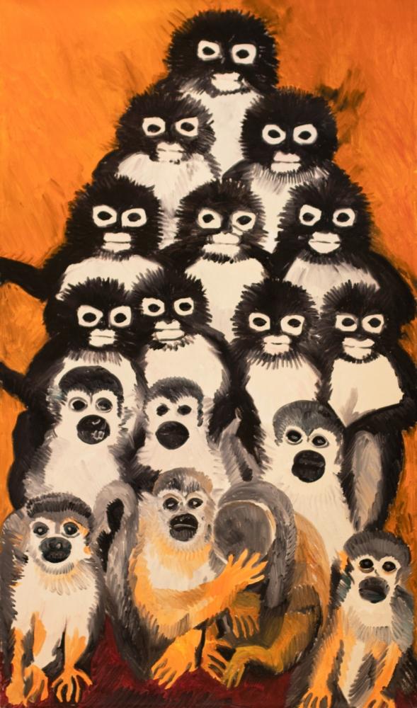 Hunt Slonem, Monkey Pyramid, 1984, 52x30, monkey painting, marmoset painting, animal painting