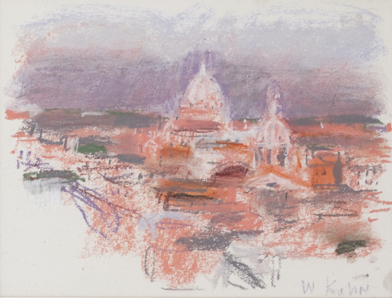 Wolf Kahn, From the Roof of Hotel Hassler, 2001, Pastel, 9 x 12 inches, wolf kahn pastel, Wolf Kahn Pastels for sale
