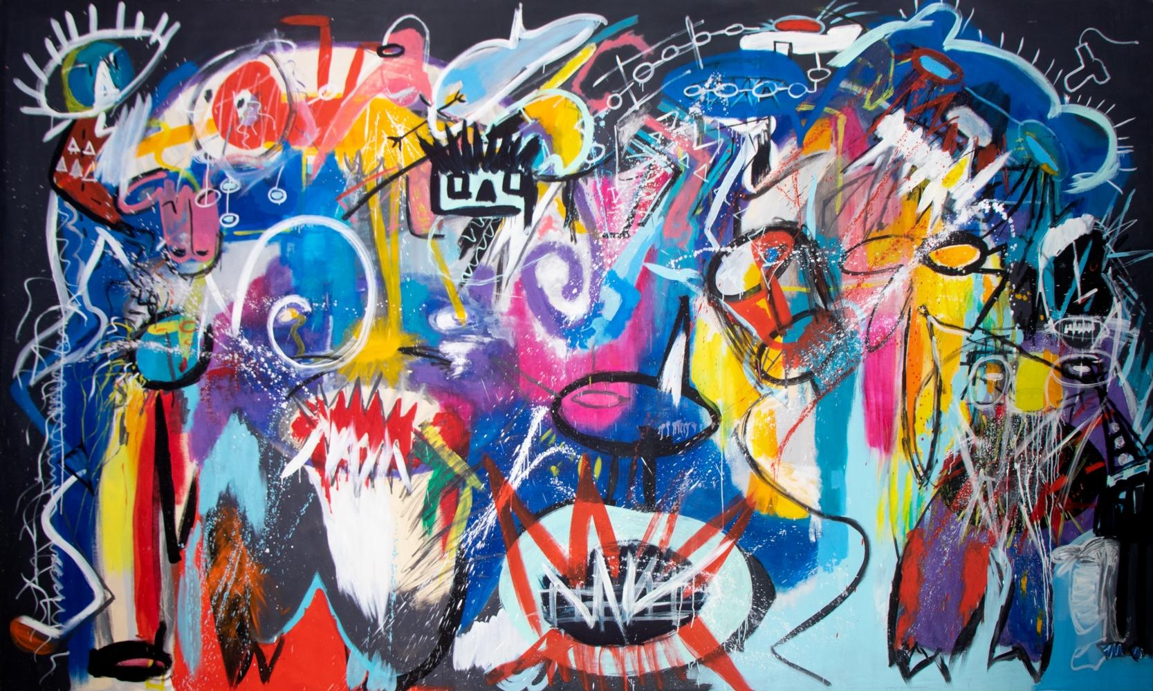 Fernanda Lavera, Los Gatos Rabiosos, 2012, Acrylic on canvas, 200 x 330 cm, Graffiti and Street Art for Sale at Manolis Projects Art Gallery, Miami, Fl