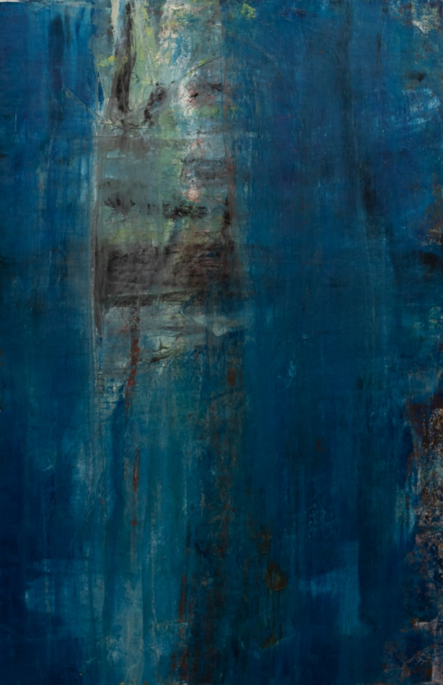 Richard Snyder, Blue curtain, 2004, Oil on canvas, 63.5 x 41 inches