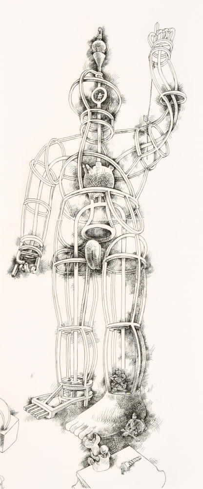 Tom Otterness, Giant AP 10/10, 1994, engraving & drypoint printed from 2 copper plates, 78 x 31 inches
