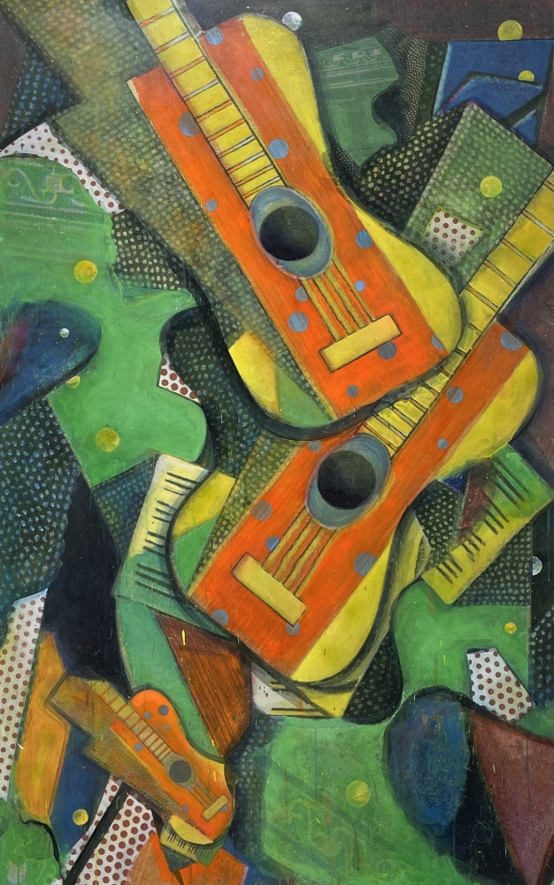 Bruce Helander, Triple Accoustics, 2019, Acrylic on Canvas with Printed Background, 79.25 x 50.25 inches, bruce helander art for sale