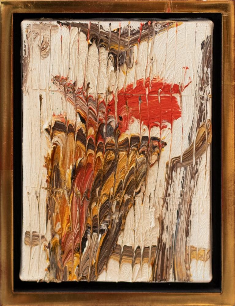 Hunt Slonem, Wood pecker, 2002, Oil painting on canvas, 7 x 5 inches, Hunt Slonem art for sale, Hunt Slonem bird paintings