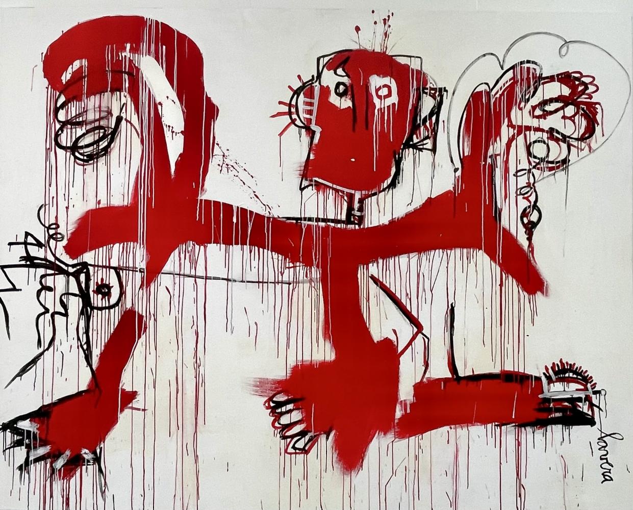 Fernanda Lavera, Danza con el Diablo, 2019, acrylic painting on canvas, graffiti and street art For sale at Manolis Projects Gallery, Miami. FL