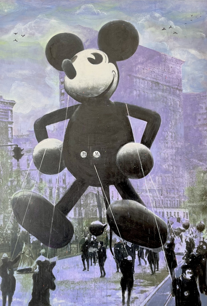 Bruce Helander, Macy's Mickey Mouse, ca. 1934 (Purple), 2019, Acrylic embellished with glitter and spray paint on Canvas, 82 x 56 inches, bruce helander art for sale