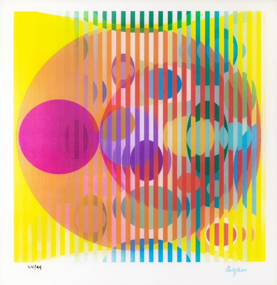Yaacov Agam, Four Seasons, 2005, Agamograph on paper, 13.75 x 13.25 inches, Edition 44 of 99, Yaacov Agam agamograph for sale at Manolis Projects Art Gallery, Miami, Fl