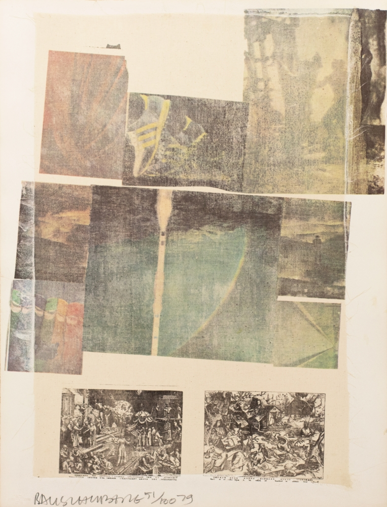 Robert Rauschenberg, People Have Enough Trouble Without Being Intimidated By An Artichoke, Offset Color Lithograph with Collage, 1979, 28.7x22.5, Robert Rauschenberg prints, Robert Rauschenberg art for sale