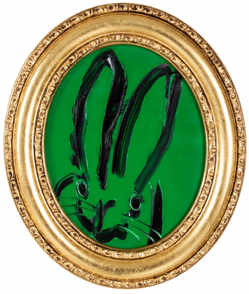 Hunt Slonem, Green Pastures Bunny Painting, 2021, Oil on wood, 10 x 8 inches, Hunt Slonem Bunnies for sale