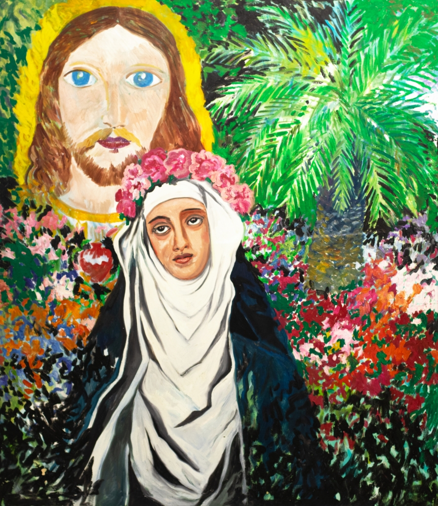 Hunt Slonem, Saint Rosa of Lima, 1984, Oil painting on canvas, 84 x 72 inches, Large Scale Painting, Hunt Slonem art for sale